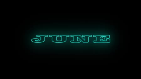 nomeação : Neon flickering blue name of the month JUNE. Stock Footage