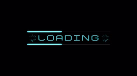 completo : 4k Loading Process to Complete. Futuristic pending loading screen on black background. Animation blue digital elements. Stock Footage