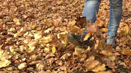 tekmeleme : Slow motion - unrecognizable woman feet walking in autumn park covered with yellow leaves - close-up.