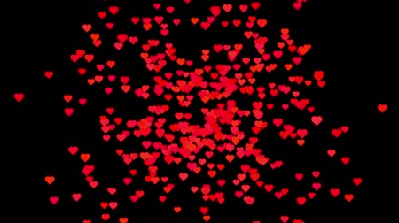 heart shaped : Digital animation of Red hearts flying on a black background