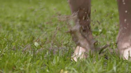 Close-up slow motion shot of barefoot man jumps in grass while water sprinkles. People in muddy puddle. Male legs walking on wet green grass. Freedom and happiness concept. Dostupné videozáznamy