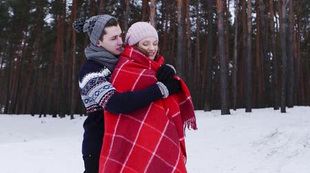 cobertor : Cute Couple, Wrapped In Cozy Blanket, Enjoy View Of winter forest