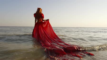 giydirmek : Young barefoot girl in long red dress running dancing along the surf line. Happy girl with long hair having fun on sandy beach during summer holidays. Female bare feet and fluttering dress at sunset. Stok Video