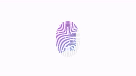 impressão digital : Animation of fingerprint black and white alpha matte Touch ID futuristic digital processing of biometric scanner concept and security scanning of finger cyber mobile phone unlock applications Stock Footage