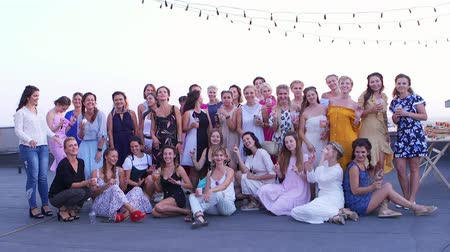 Poltava, Ukraine - June, 2018: Group photo of beautiful women Wideo