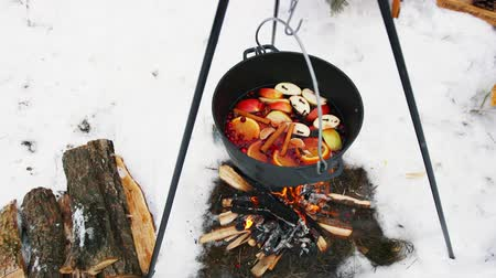 mulled wine : Cooking mulled wine on the bonfire in the winter forest. Stock Footage