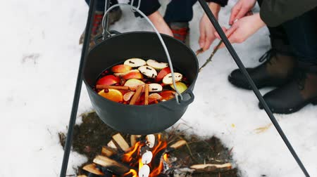 skořice : Cooking mulled wine on the bonfire in the winter forest. Dostupné videozáznamy