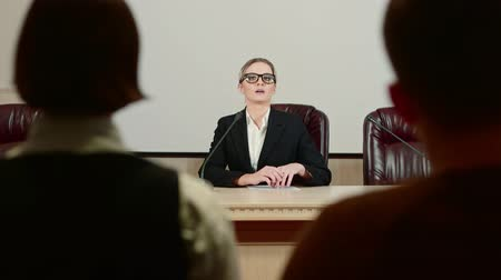 alarmed : Businesswoman politician is speaking at press conference and nervous. Stock Footage