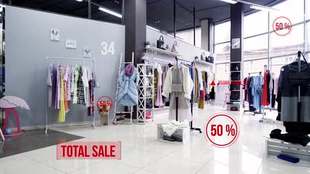 吹き出し : Interior of womens clothing store. Sale and discounts of 50%. Hud and call out