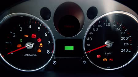 kilometer : car dashboard. Electric car battery charging. Motion graphics