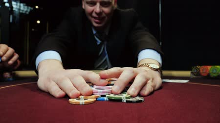 willpower : Poker player bets all chips he has. Casino gamble.