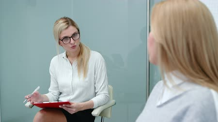 toborzás : Job interview with hr specialist in big company for applicant woman. Stock mozgókép