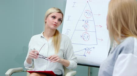 question : Job interview with hr specialist in big company for applicant woman. Stock Footage