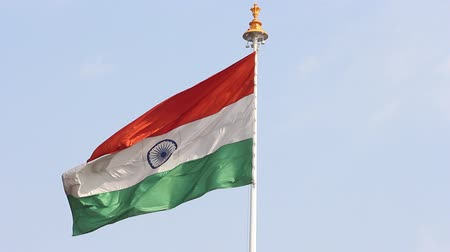 bandeira : Indian flag at Jaipur railway station. Jaipur, Rajasthan, India.