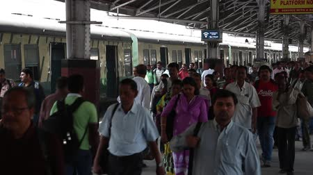 kolkata : Kolkata, India - Circa March 2019. Passengers at Howrah railway station, Kolkata, India. Stock Footage