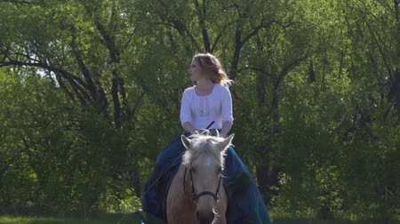 horse riding : A girl with long hair, riding a horse in a long green and blue historical dress, looking at the camera, the horse is standing, shaking her head. Outside evening evening at sunset against the sky
