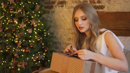 peluş : Young beautiful girl wraps a Christmas gift