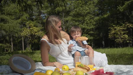 ízléses : The child, choosing fast food instead of vegetables and fruits Stock mozgókép