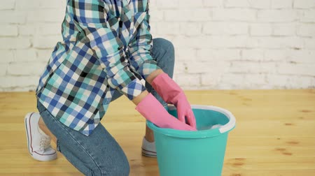 sanitize : Wringing a cleaning rag Stock Footage