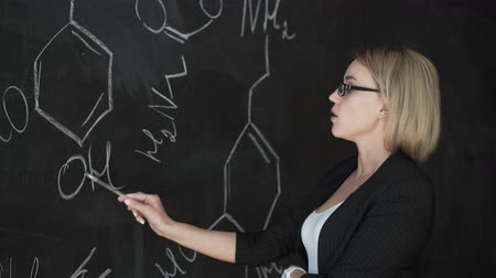 vzorec : Teacher writing formulas on the chalk Board and explains the students the formula.