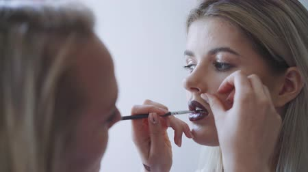 gracefully : Portrait of a beautiful woman, lipstick paints a dark color, looking in the mirror. An attractive beautiful girl paints her lips with lipstick. Stock Footage