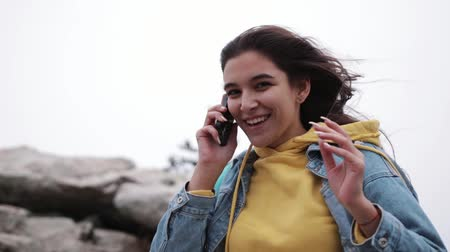 Young Girl Conversation Videochat Mobile Phone Friend Connection Mountains.