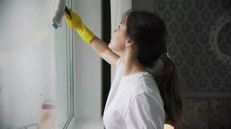 the girl is engaged in washing Windows in the apartment Стоковые видеозаписи