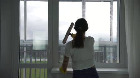 utírat : the girl is engaged in washing Windows in the apartment Dostupné videozáznamy