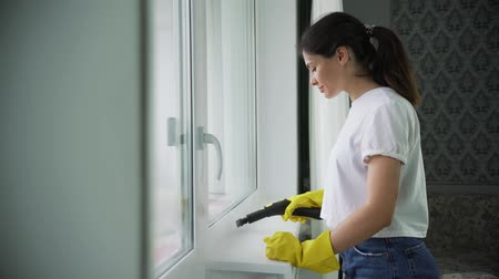 professional washing of Windows, the girl from the cleaning company washes hard-to-reach places, steam cleaning