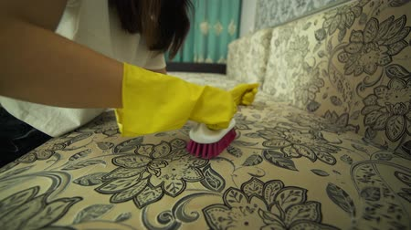 allowance : Service cleaning dirty sofa and chair with a special tool, detergent is applied. Cleaning with professional tools