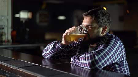 Bearded man drinking beer and enjoying a drink at the pub bar. Male guest tries a glass of beer