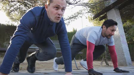 肘 : Workout with personal trainer outdoors. Two male athletes doing plank knee to elbow exercises together in a park as part of a workout routine