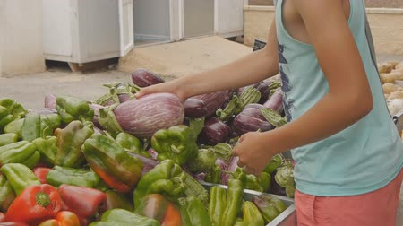 patlıcan : Teen boy choosing vegetables at fruit and vegetable rural market