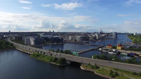 kodaň : Aerial view of Sjaellandsbroen located in Copenhagen, Denmark Dostupné videozáznamy