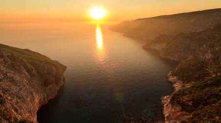 görögország : Beautiful full HD timelapse video of a summer sunset of the rocky coast of the island of Zakynthos, Greece.