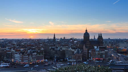 stare miasto : Beautiful Full HD timelapse at sunset of the skyline of Amsterdam, the Netherlands