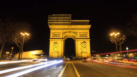 oblouk : Beautiful Full HD timelapse of the Arc de Triomphe at night in Paris, France Dostupné videozáznamy