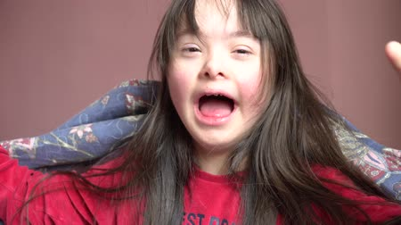 Down syndrome girl have fun