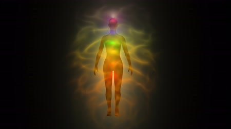 исцелять : Aura of woman - human energy body, chakras