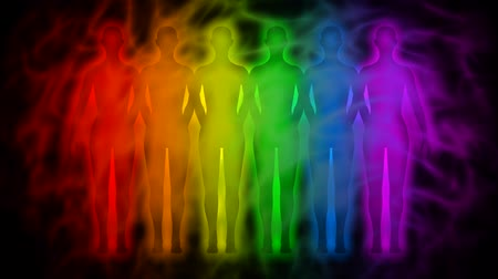 исцелять : Rainbow people - rainbow silhouettes of human aura