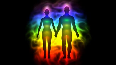 alkotás : Aura and chakras - silhouette of woman and man