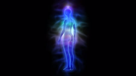 исцелять : Human energy body aura with chakras - woman rotating loop able