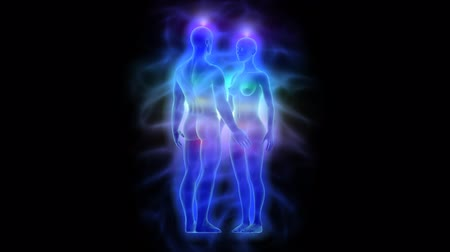 исцелять : Aura, chakras and healing energy - woman and man rotating loop able Стоковые видеозаписи