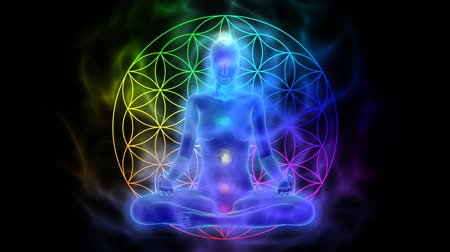 karma yoga : Meditation - aura, chakras, symbol flower of life