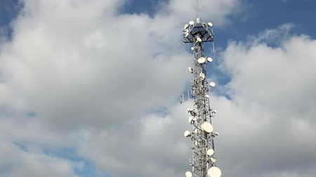 башни : Communications Tower With Clouds Стоковые видеозаписи