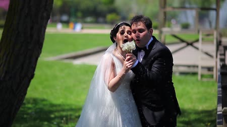 weddings : bride and groom  blowing dandelion Stock Footage