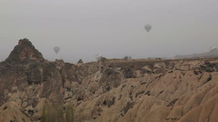 seljuk : air balloon trips at Famous city  Cappadocia Stock Footage