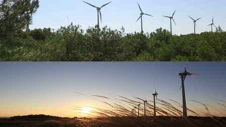 moinho de vento : montage wind turbines generating clean power