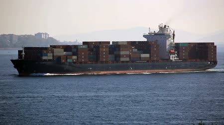 large cargo ship passing Bosporus