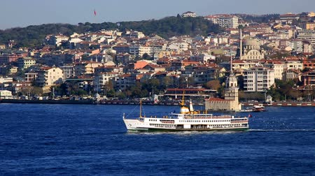 паром : urban transport by sea in front Maiden Tower at Istanbul